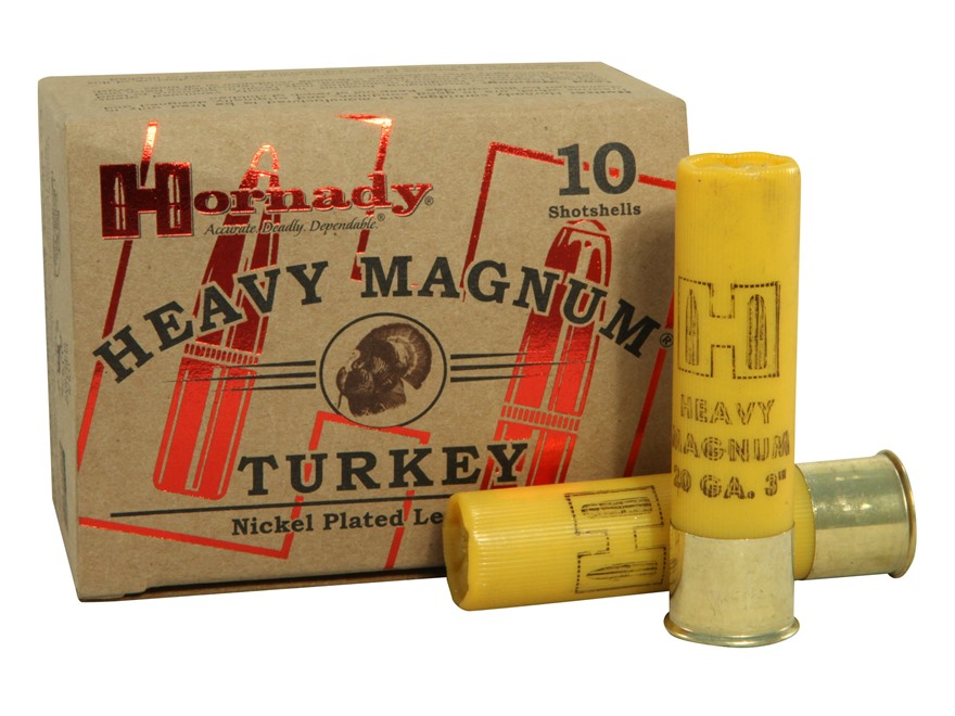 "Hornady Heavy Magnum Turkey Ammunition 20 Gauge 3"" 1-3/8 oz #5 Nickel Plated Shot Box o..."