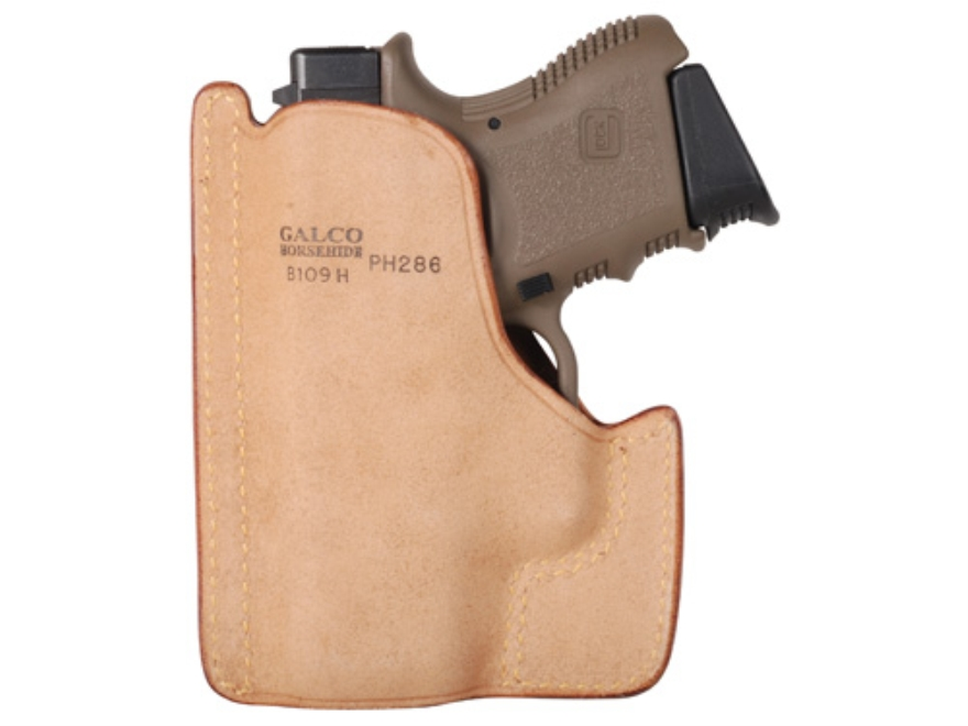 Galco Front Pocket Holster Ambidextrous Glock 26, 27, 33 Horsehide Leather Tan