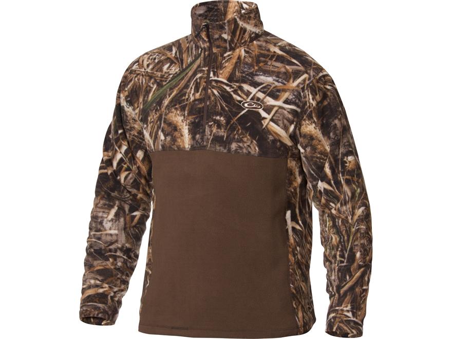 Drake Men's MST Two-Tone Camo Camp Fleece 1/4 Zip Jacket Polyester