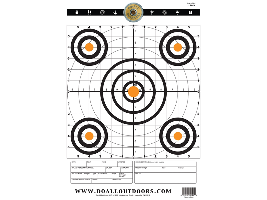 "Do-All Precision Target 12"" x 18"" Paper Target Package of 10"