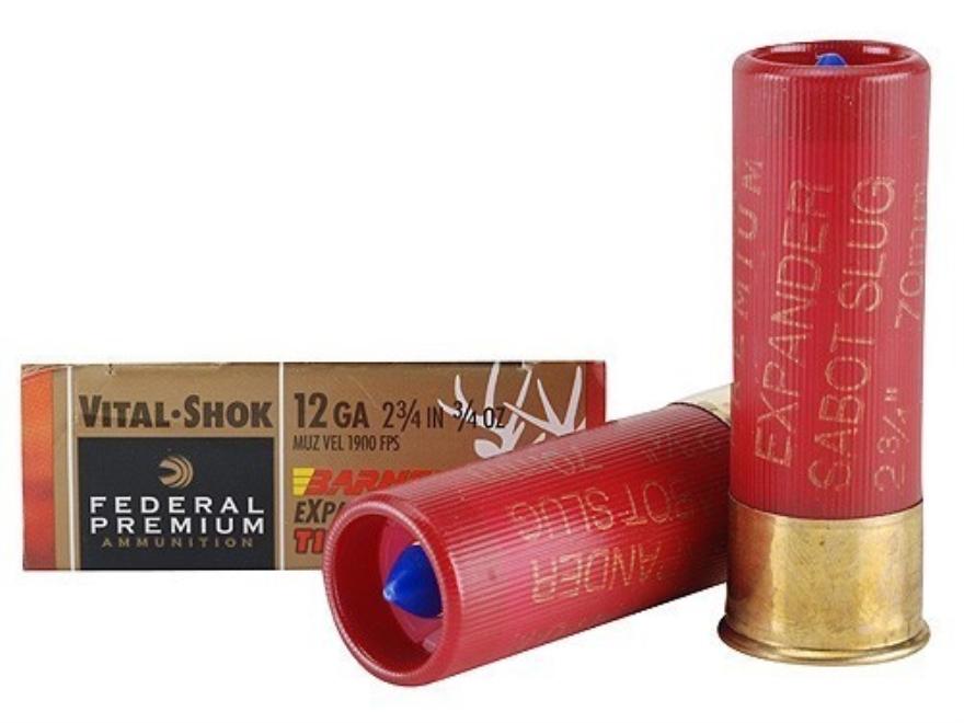 "Federal Premium Vital-Shok Ammunition 12 Gauge 2-3/4"" 3/4 oz Barnes Expander Tipped Sab..."