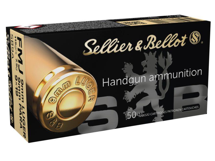 Sellier & Bellot Ammunition 9mm Luger 115 Grain Full Metal Jacket Box of 50