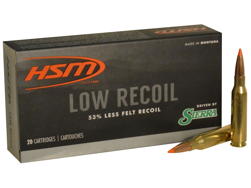 HSM Low Recoil Ammunition 7mm-08 Remington 140 Grain Sierra Tipped Spitzer Boat Tail Bo...