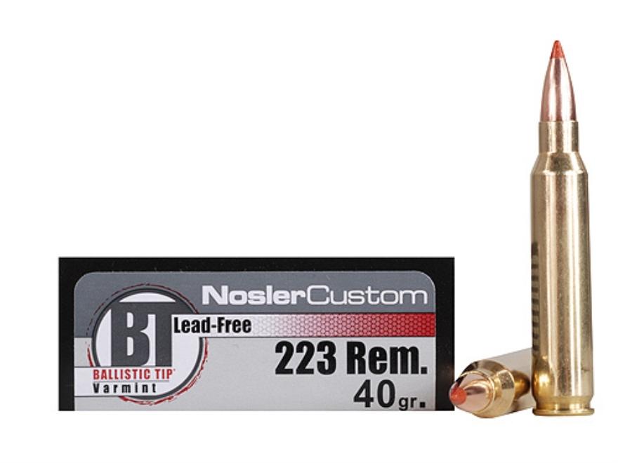 Nosler Trophy Grade Ammunition 223 Remington 40 Grain Ballistic Tip Varmint Lead-Free B...