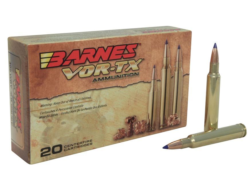 Barnes VOR-TX Ammunition 300 Weatherby Magnum 180 Grain Tipped Triple-Shock X Bullet Bo...