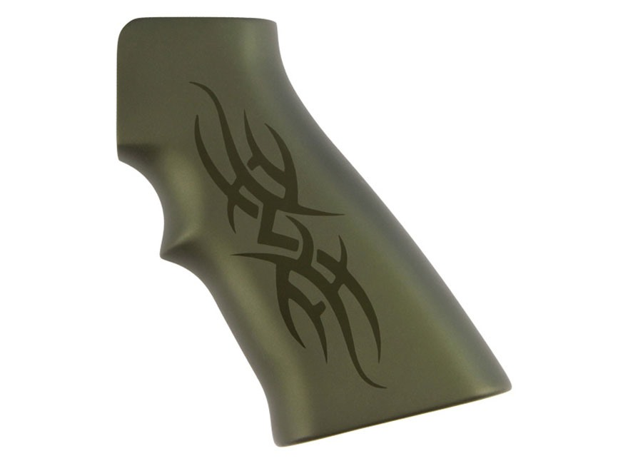 Hogue Extreme Series Grip AR-15, LR-308 Tribal Aluminum Green