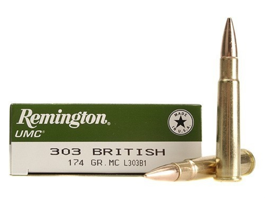 Remington UMC Ammunition 303 British 174 Grain Full Metal Jacket Box of 20