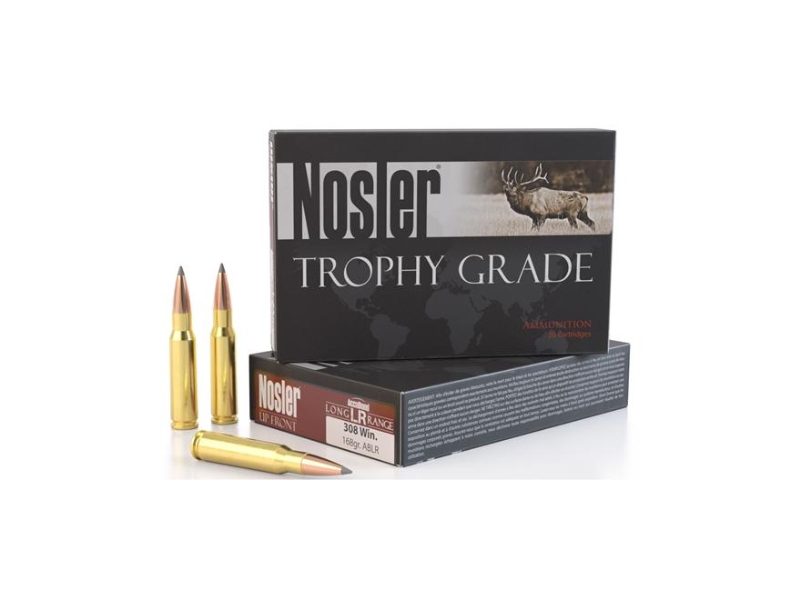 Nosler Trophy Grade Ammunition 308 Winchester 168 Grain AccuBond Long Range Box of 20