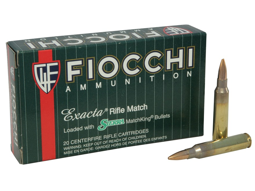 Fiocchi Exacta Ammunition 223 Remington 77 Grain Sierra MatchKing Hollow Point Box of 20