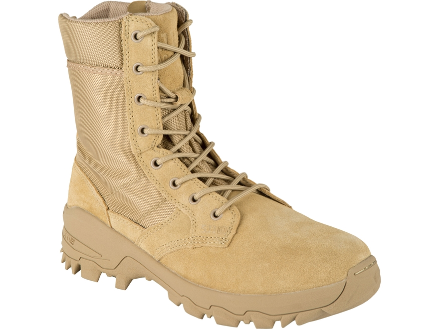 "5.11 Speed 3.0 Desert 8"" Side Zip Tactical Boots Leather and Nylon Coyote Men's"