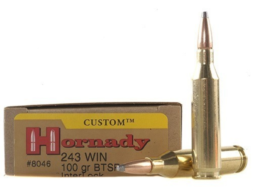 Hornady Custom Ammunition 243 Winchester 100 Grain InterLock Spire Point Boat Tail Box ...