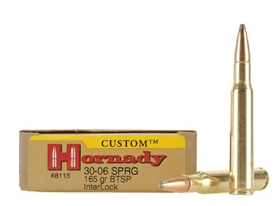 Hornady Custom Ammunition 30-06 Springfield 165 Grain InterLock Spire Point Boat Tail B...