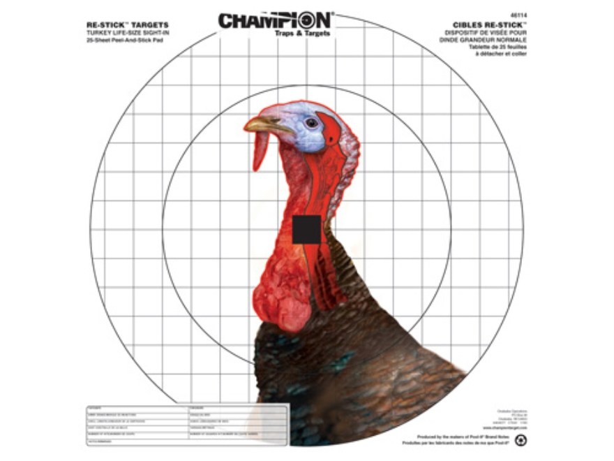 "Champion Re-Stick Turkey Sight-In Self-Adhesive Targets 16"" x 16"" Paper Pack of 25"