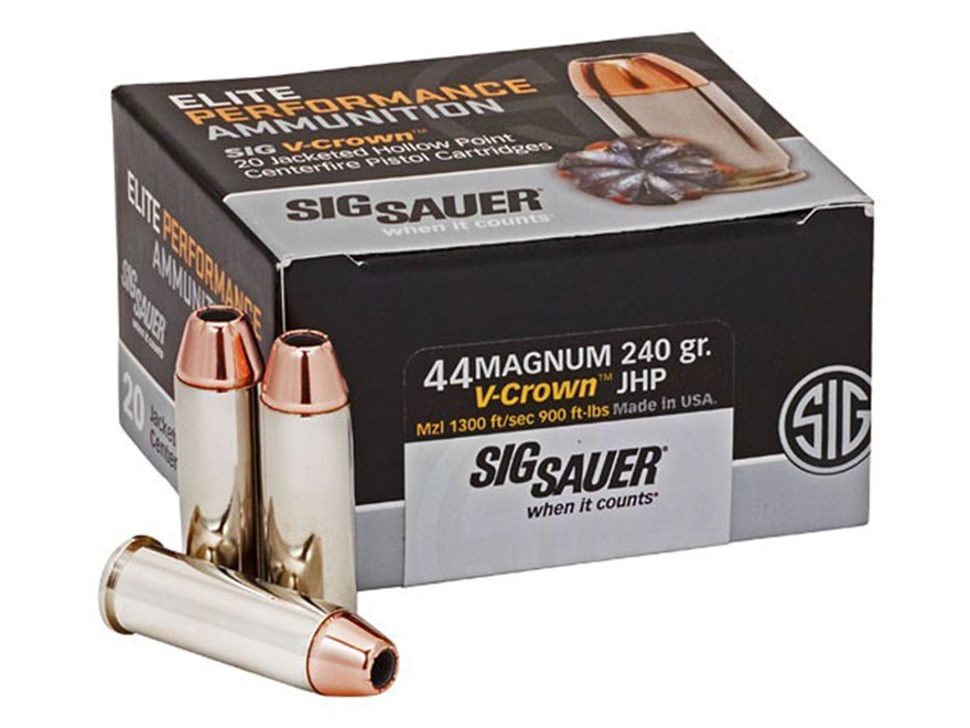 Sig Sauer Elite Performance Ammunition 44 Remington Magnum 240 Grain V-Crown Jacketed H...