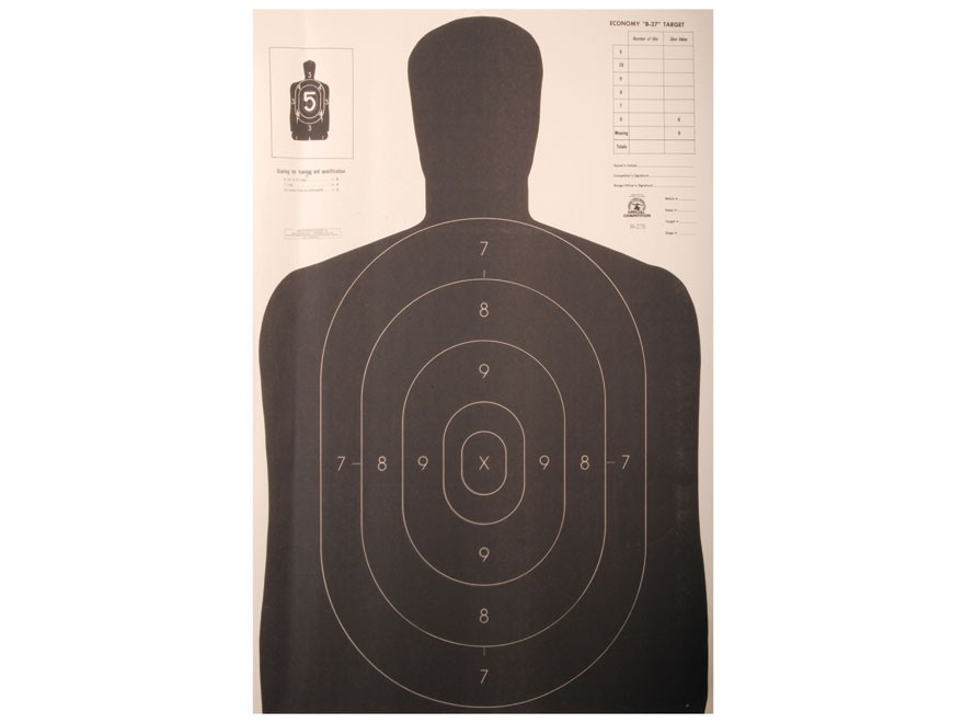 NRA Official Silhouette Targets B-27E 50 Yard Paper Black/White Pack of 100