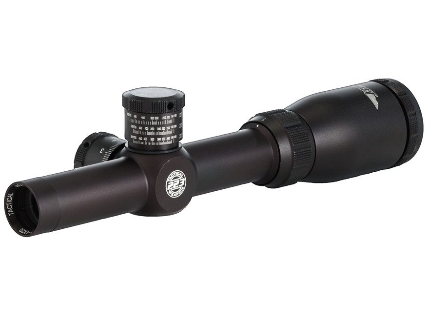 BSA Tactical Weapon 223 Rifle Scope 1-4x 24mm Mil-Dot Reticle Matte