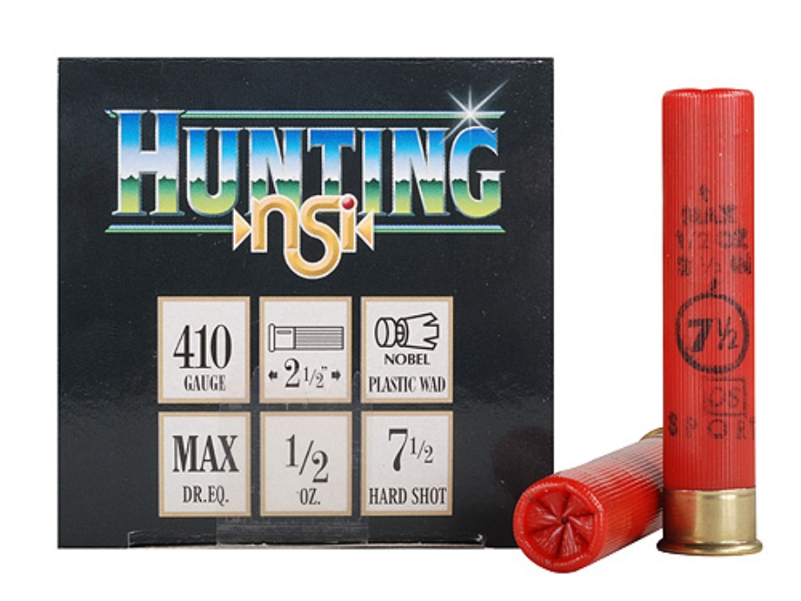 "NobelSport Hunting Ammunition 410 Bore 2-1/2"" 1/2 oz #7-1/2 Shot Box of 25"