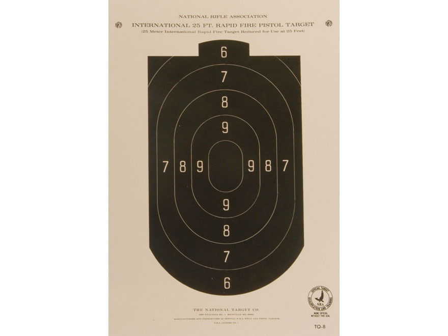 NRA Official Pistol Targets TQ-8 25' Rapid Fire Paper Pack of 100