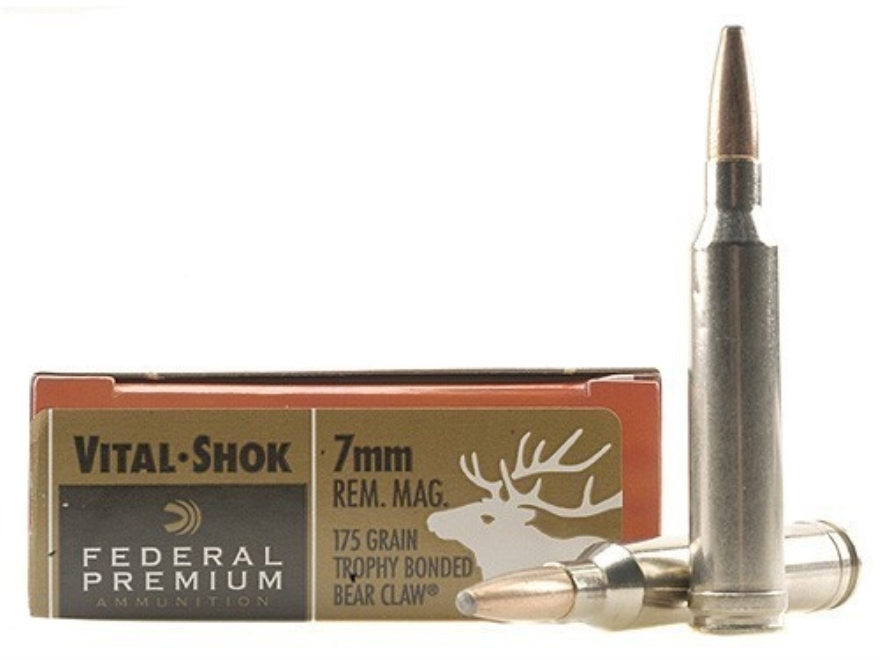 Federal Premium Vital-Shok Ammunition 7mm Remington Magnum 175 Grain Speer Trophy Bonde...