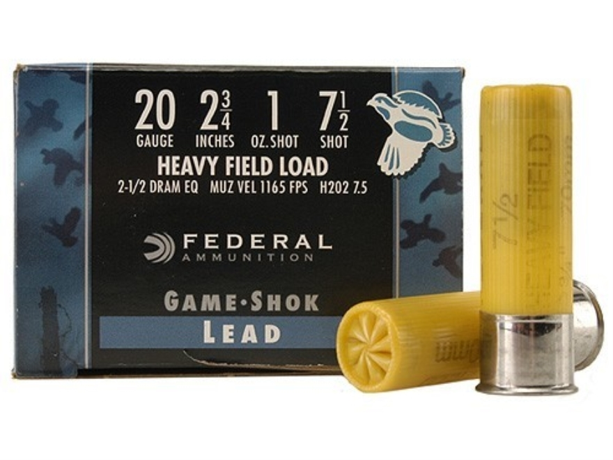 "Federal Game-Shok Heavy Field Load Ammunition 20 Gauge 2-3/4"" 1 oz #7-1/2 Shot Box of 25"