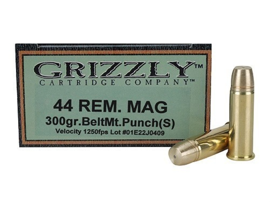 Grizzly Ammunition 44 Remington Magnum 300 Grain PUNCH Short Flat Nose Lead-Free Box of 20