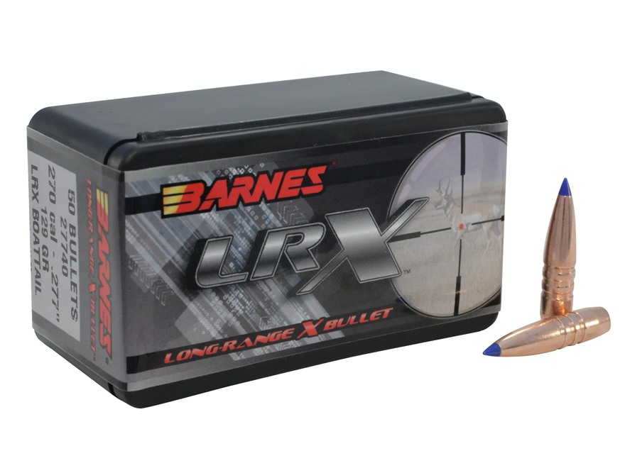 Barnes Long-Range Hunting Bullets 270 Caliber (277 Diameter) 129 Grain LRX Boat Tail Bo...