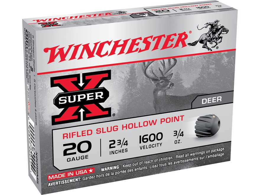 "Winchester Super-X Ammunition 20 Gauge 2-3/4"" 3/4 oz Rifled Slug Box of 5"