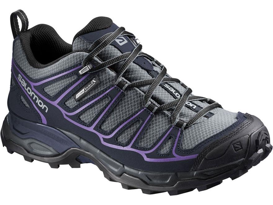 "Salomon X Ultra Prime CS 4"" Waterproof Hiking Shoes Synthetic Pearl Gray/Deep Blue/Rain..."