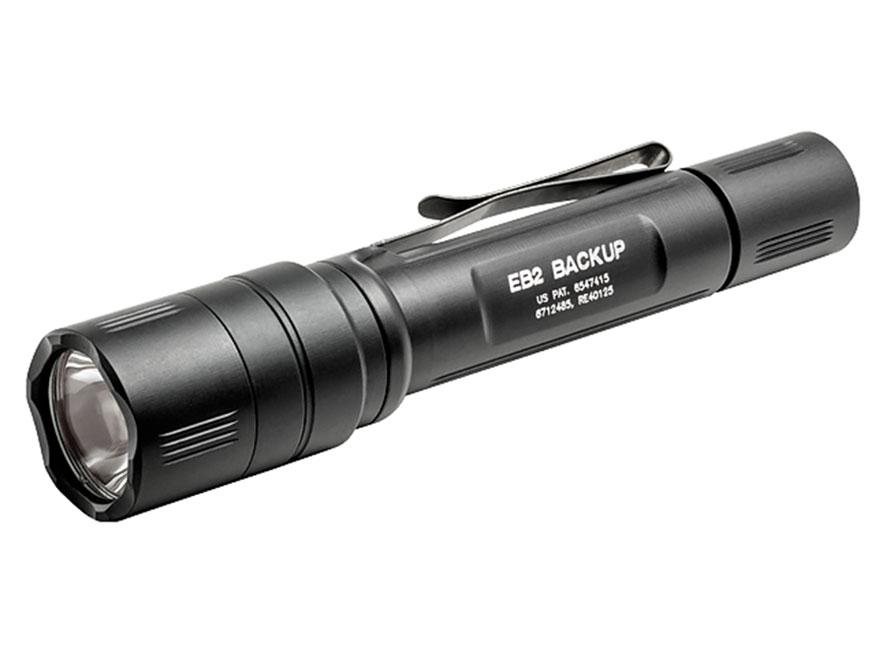 Surefire EB2 Backup Flashlight LED with 2 CR123A Batteries Click Switch Aluminum Black