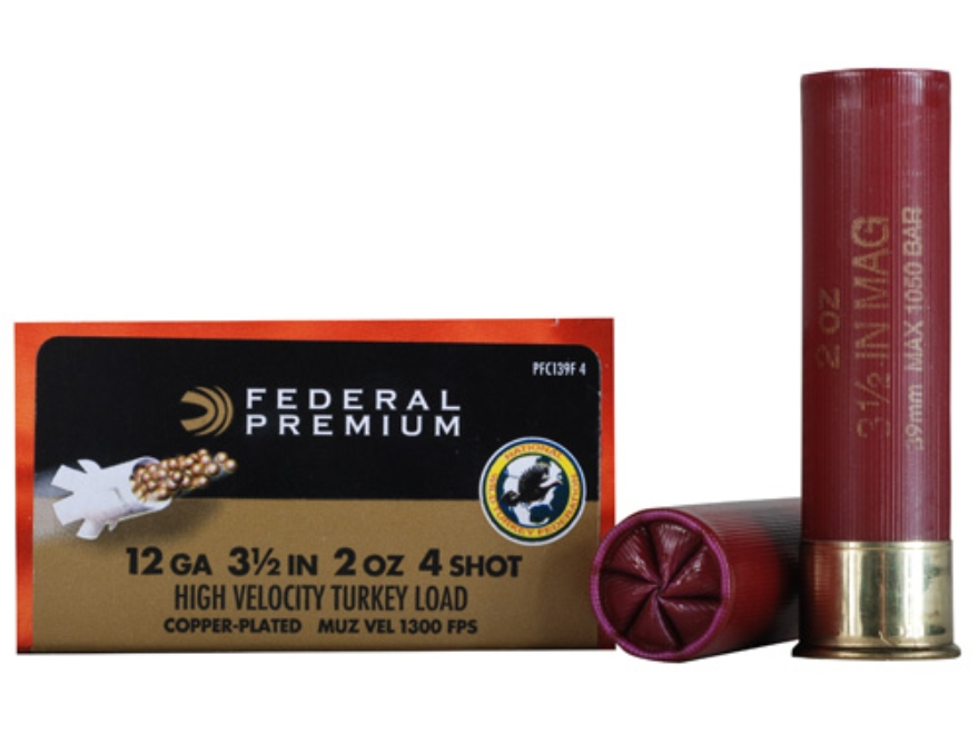 "Federal Premium Mag-Shok Turkey Ammunition 12 Gauge 3-1/2"" 2 oz #4 Copper Plated Shot H..."