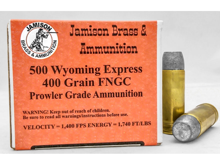 Jamison Ammunition 500 Wyoming Express 400 Grain Flat Nose Gas Check Box of 20