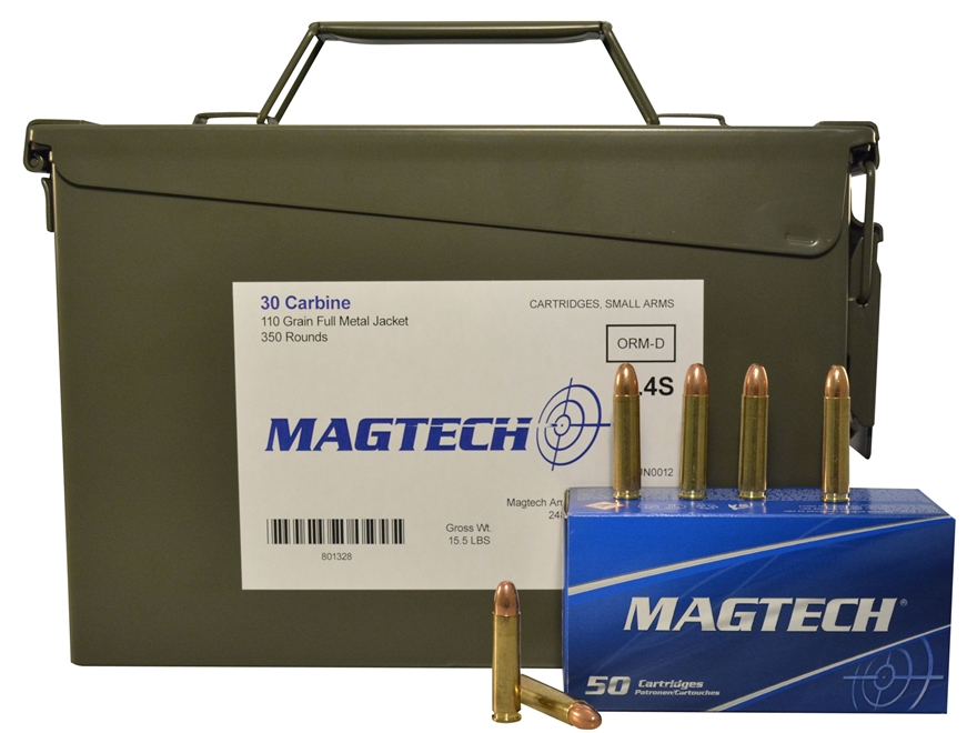 Magtech Sport Ammunition 30 Carbine 110 Grain Full Metal Jacket Ammo Can of 350 (7 Boxe...