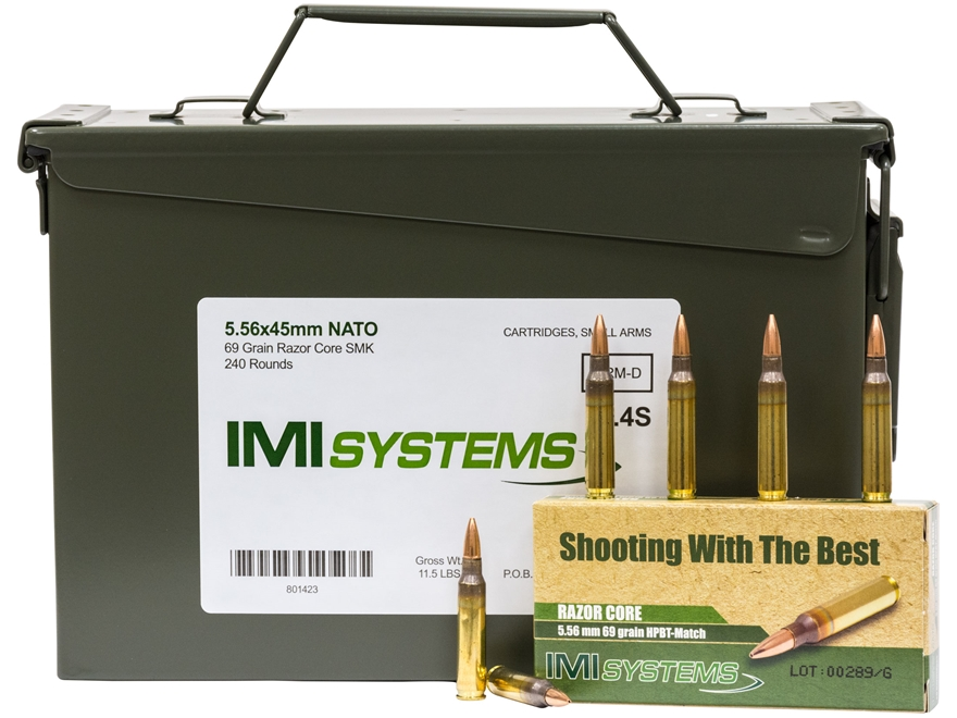 IMI Ammunition 5.56x45mm 69 Grain Razor Core (Sierra MatchKing Hollow Point) Ammo Can o...