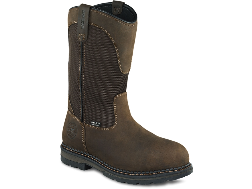"Irish Setter Ramsey 11"" Waterpoof Pull-On Aluminum Toe Work Boots Leather Brown Men's"