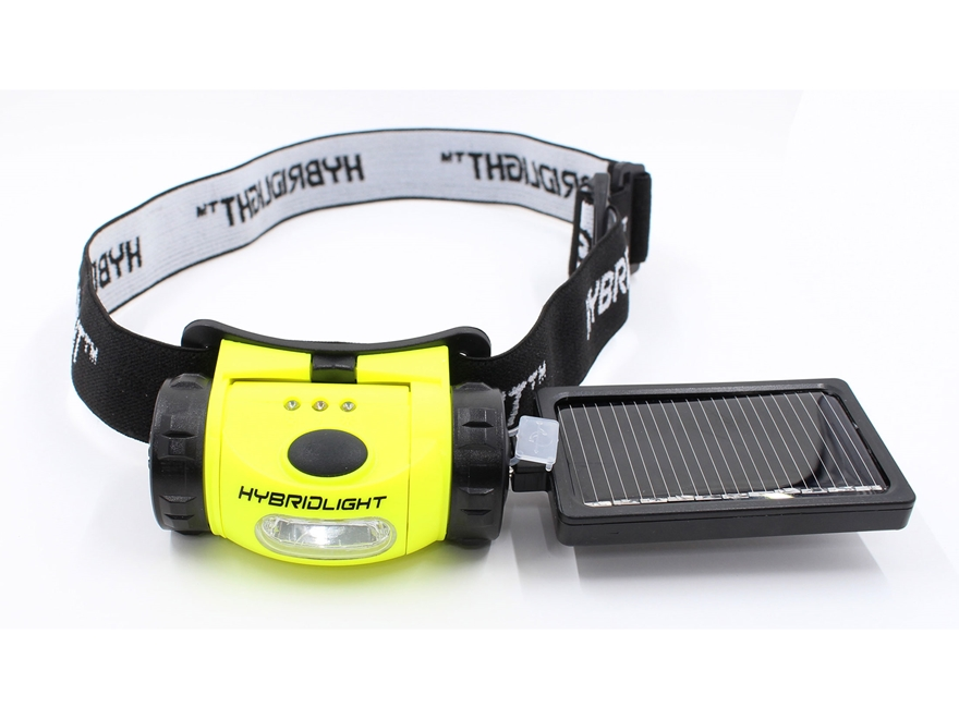 HybridLight Solar Headlamp LED Rechargeable Battery