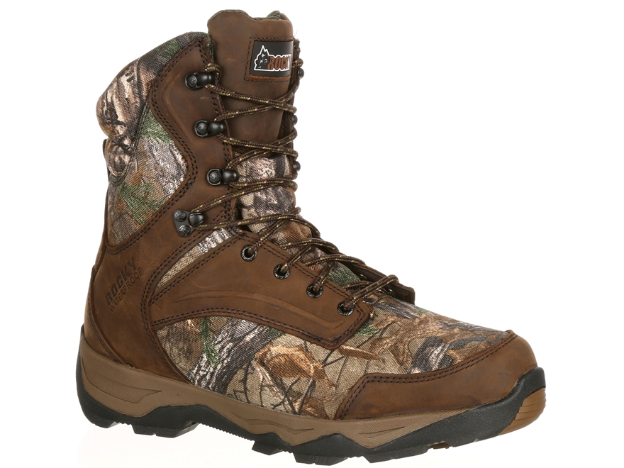"""Rocky Retraction 8"""" Waterproof 800 Gram Insulated Hunting Boots Leather/Nylon"""