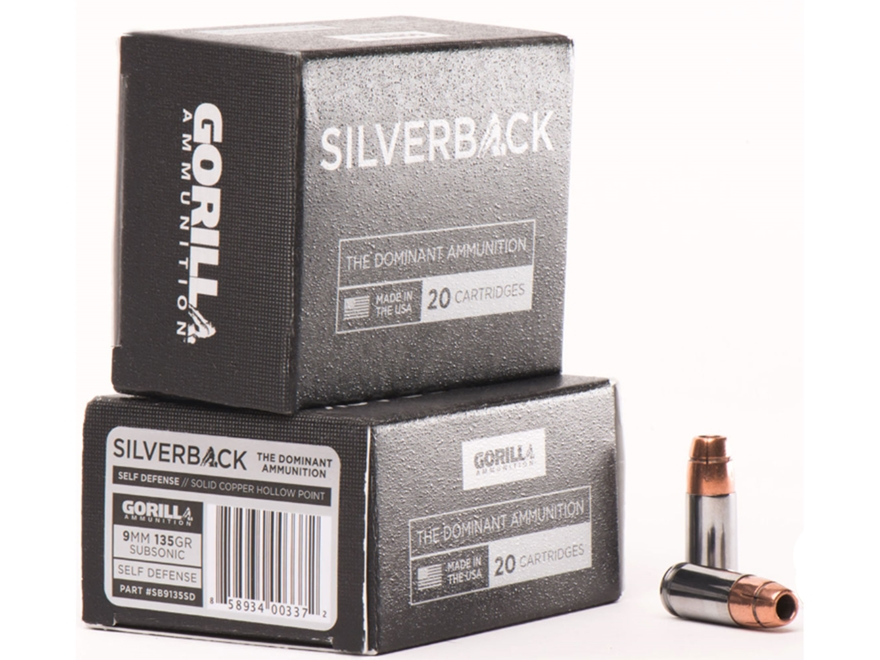 Gorilla Silverback Self Defense Ammunition 9mm Luger Subsonic 135 Grain Hollow Point Co...