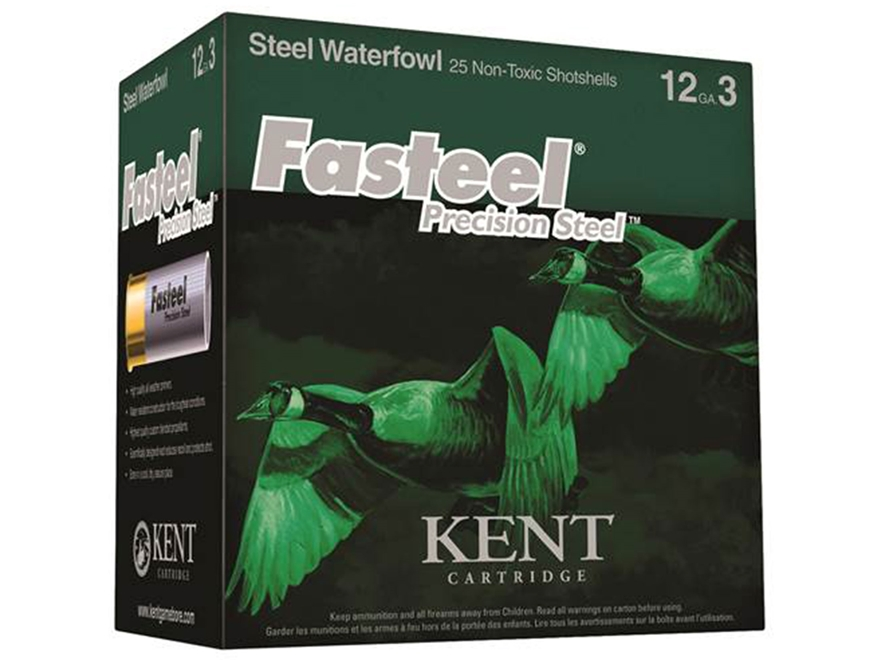 "Kent Cartridge Fasteel Precision Steel Waterfowl Ammunition 12 Gauge 3"" 1-1/8 oz #2 Non..."