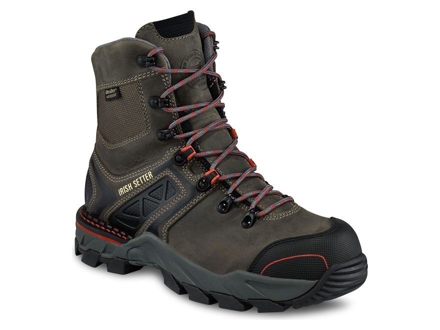 "Irish Setter Crosby 8"" Waterproof Non-Metallic Safety Toe Work Boots Leather/Nylon Gray..."