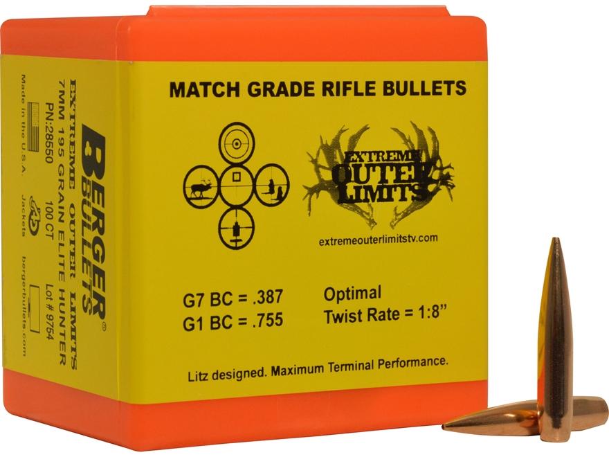 Berger Elite Hunter Hunting Bullets 284 Caliber, 7mm (284 Diameter) 195 Grain Hybrid Ho...
