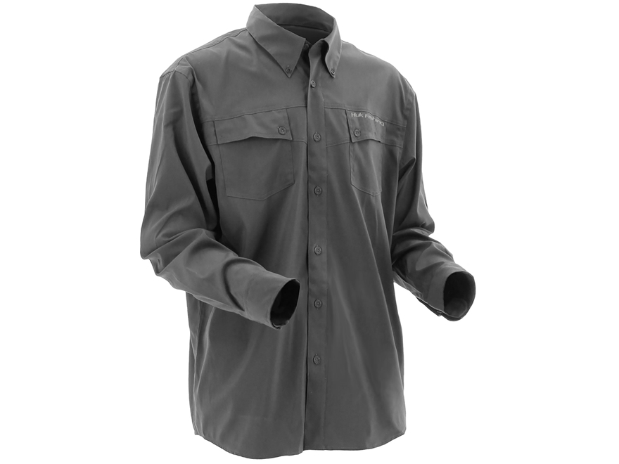 Huk Men's Phenom Button-Up Shirt Long Sleeve Polyester Cool Charcoal Grey Large
