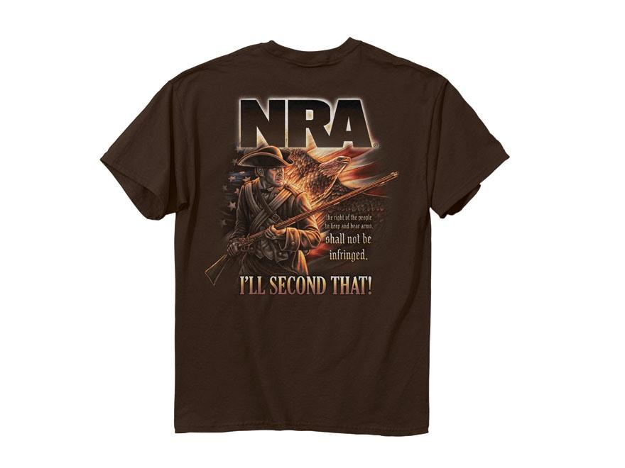 NRA Men's I'll Second That T-Shirt Short Sleeve Cotton Dark Chocolate