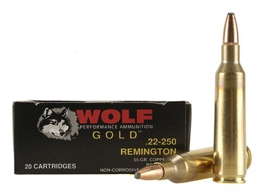 Wolf Gold Ammunition 22-250 Remington 55 Grain Soft Point Box of 20