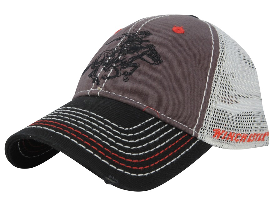 Winchester Mesh Horse and Rider Logo Cap Cotton and Polyester Gray, Black, and White