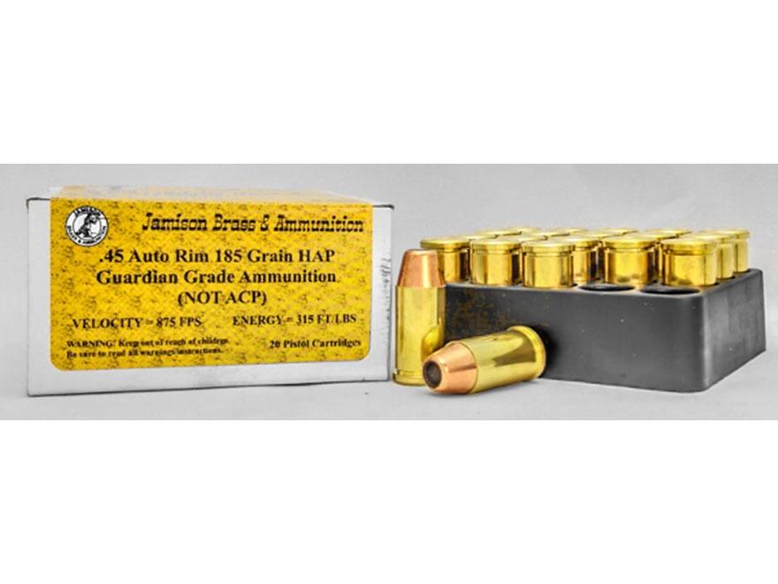 Jamison Ammunition 45 Auto Rim (Not ACP) 185 Grain HAP Box of 20