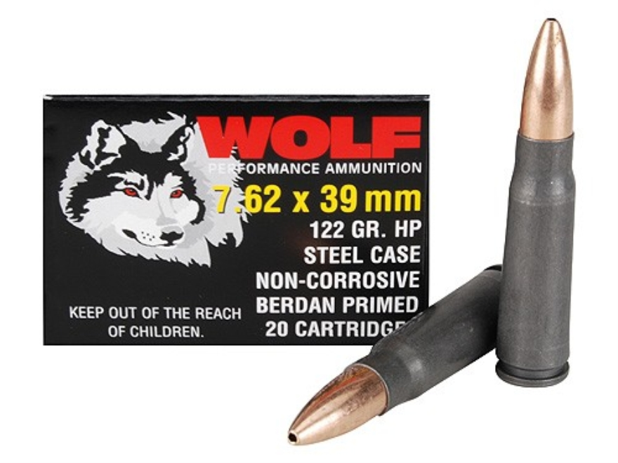 Wolf Ammunition 7.62x39mm 122 Grain Jacketed Hollow Point (Bi-Metal) Steel Case Berdan ...