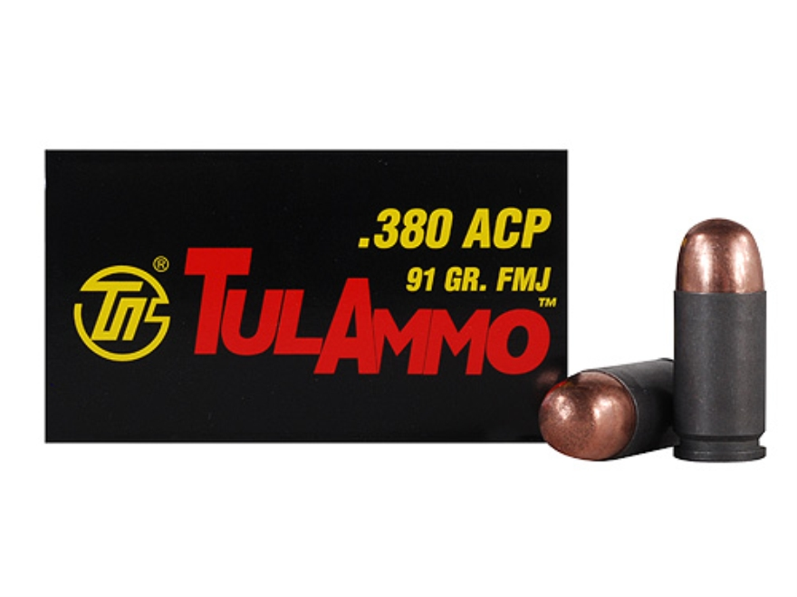 TulAmmo Ammunition 380 ACP 91 Grain Full Metal Jacket (Bi-Metal) Steel Case Berdan Prim...
