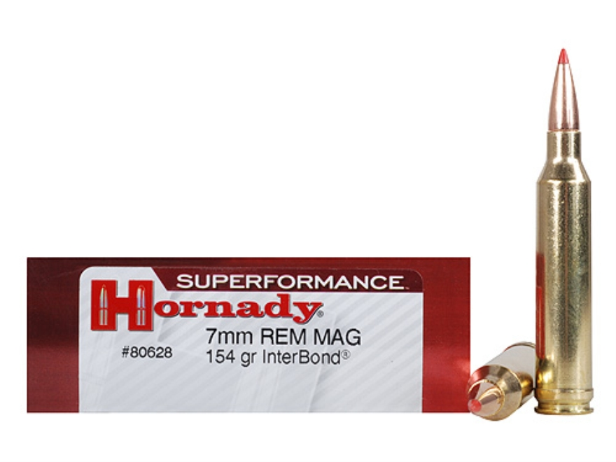 Hornady Superformance Ammunition 7mm Remington Magnum 154 Grain InterBond Boat Tail Box...