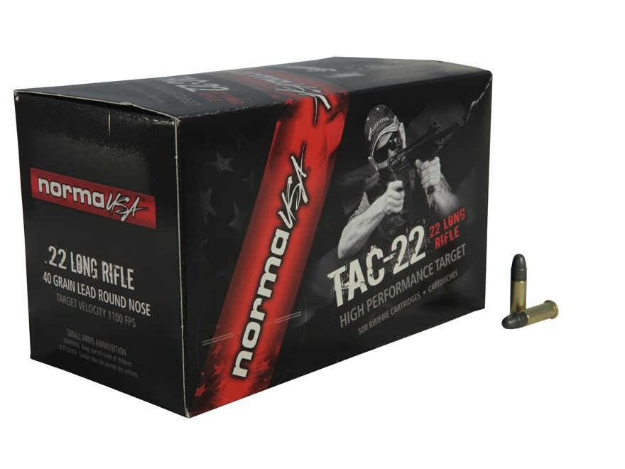 Norma USA TAC-22 Ammunition 22 Long Rifle Subsonic 40 Grain Lead Round Nose