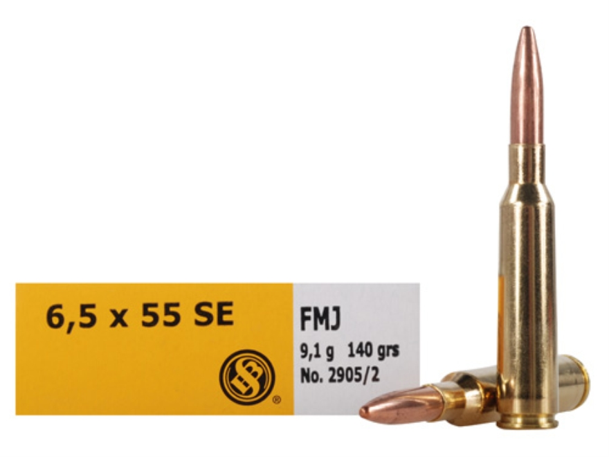 Sellier & Bellot Ammunition 6.5x55mm Swedish Mauser 140 Grain Full Metal Jacket Box of 20